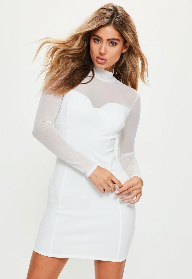 White High Neck Long Sleeve Mesh Bodycon Dress White Long Sleeve Dress Bodycon Long Sleeve Bodycon Dress Women Bodycon Dress [ 1121 x 774 Pixel ]
