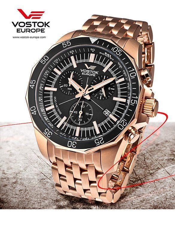 Vostok Europe N1 Rocket Chrono Quartz Gold Gold Watch 6S30 2259179B ... 840fee7e64