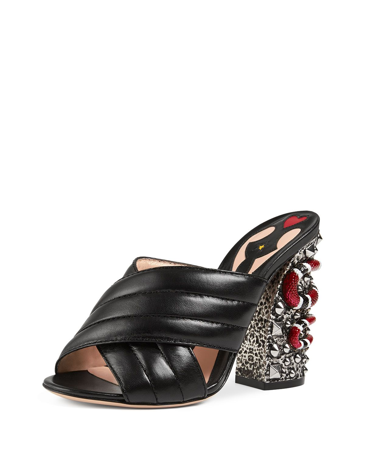 7ed565958 Webby Quilted Leather Snake-Heel Mule Sandal Black | Gucci | Heeled ...