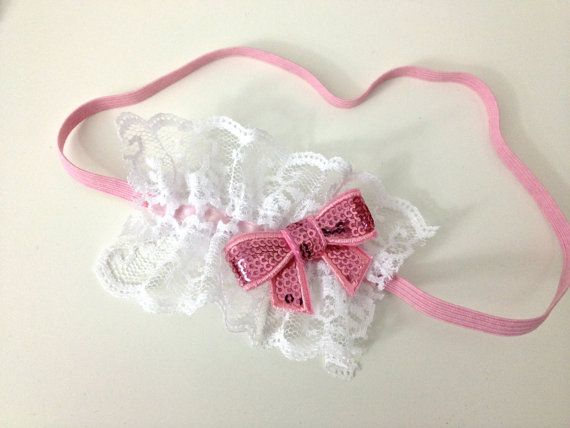White lace and pink headband by MissKsClosetOnEtsy on Etsy, $13.00