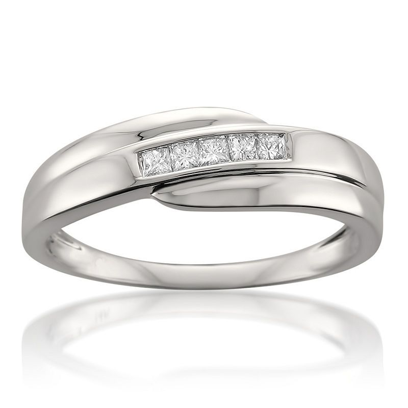 Mens 6 Mm 1 4 Ct T W White Diamond 14k Gold Wedding Band Mens Diamond Wedding Bands Rings Mens Wedding Bands Wedding Ring Bands