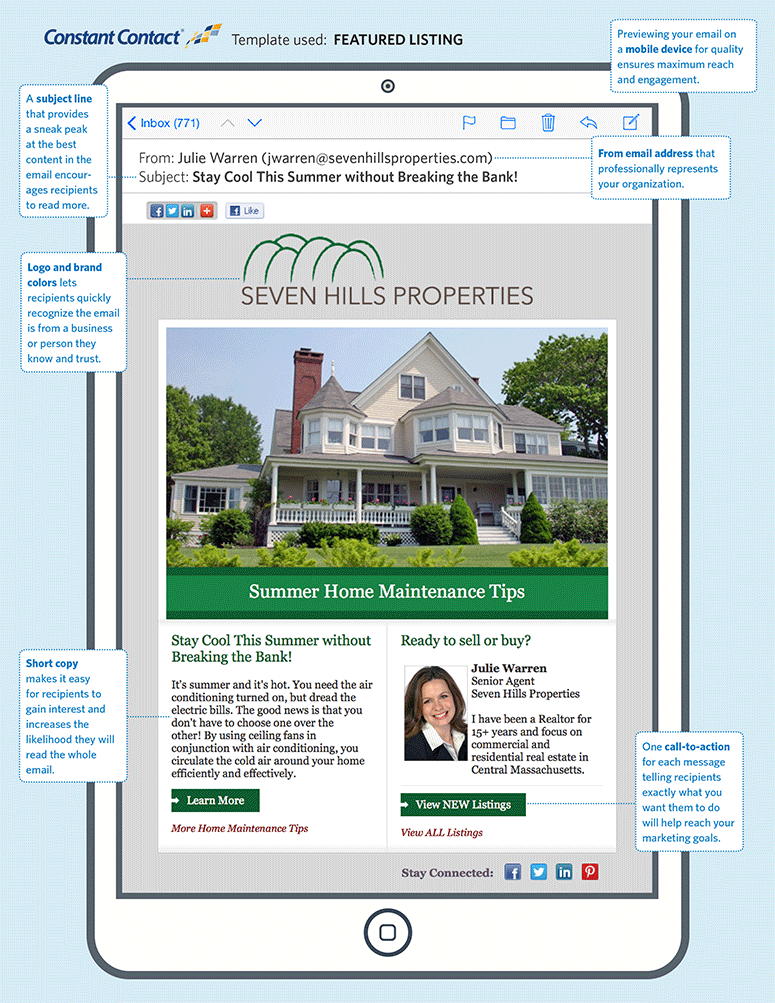 See Constant Contact Industry Examples Real Estate Marketing