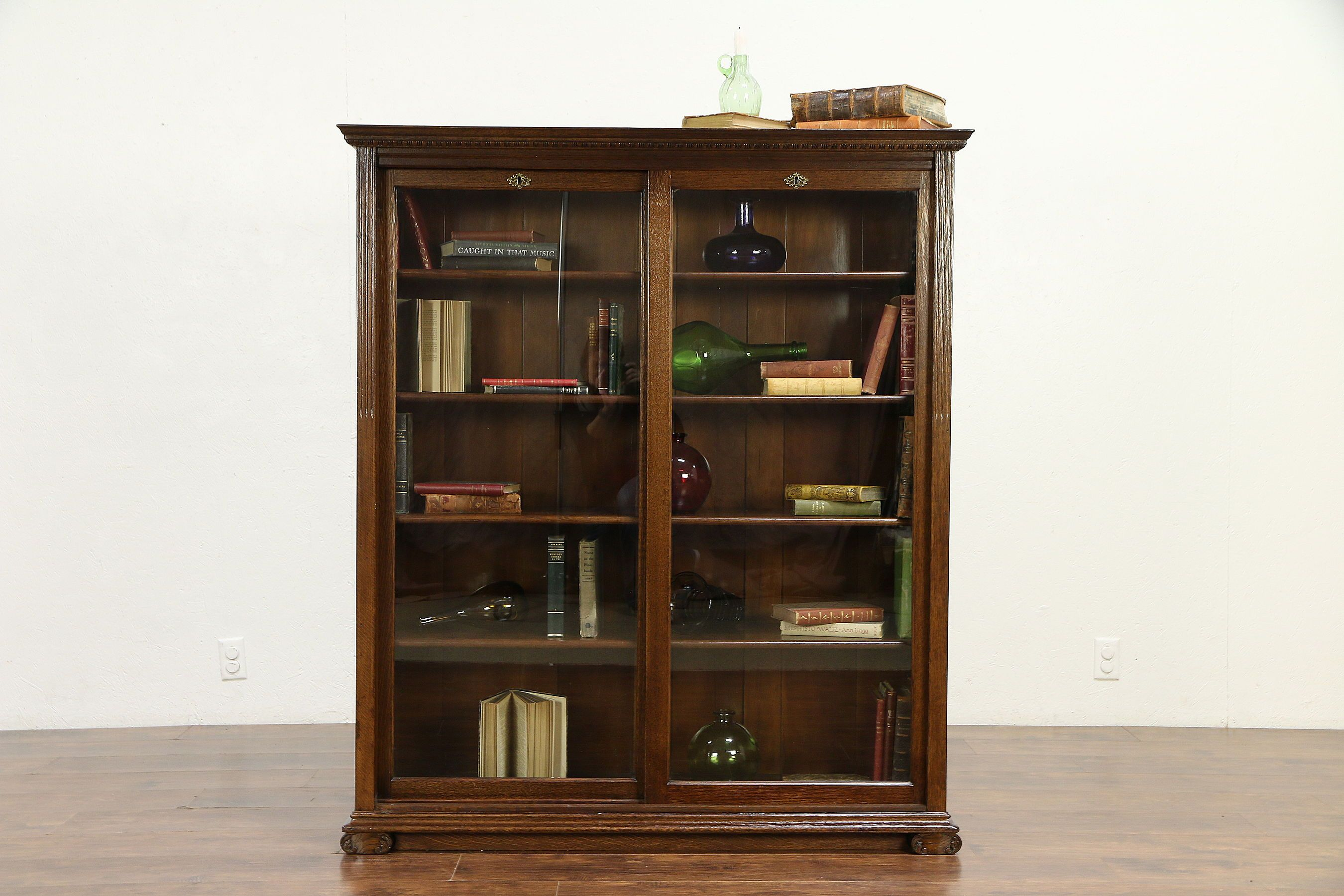 Oak Quarter Sawn Antique Library Bookcase Sliding Glass Doors