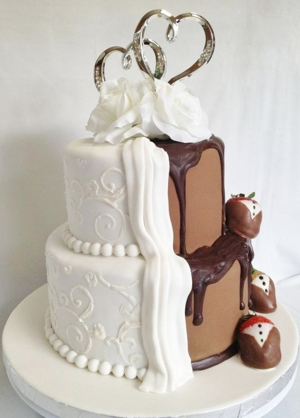 half chocolate and vanilla wedding cake chocolate and vanilla wedding cake wedding cakes 15049