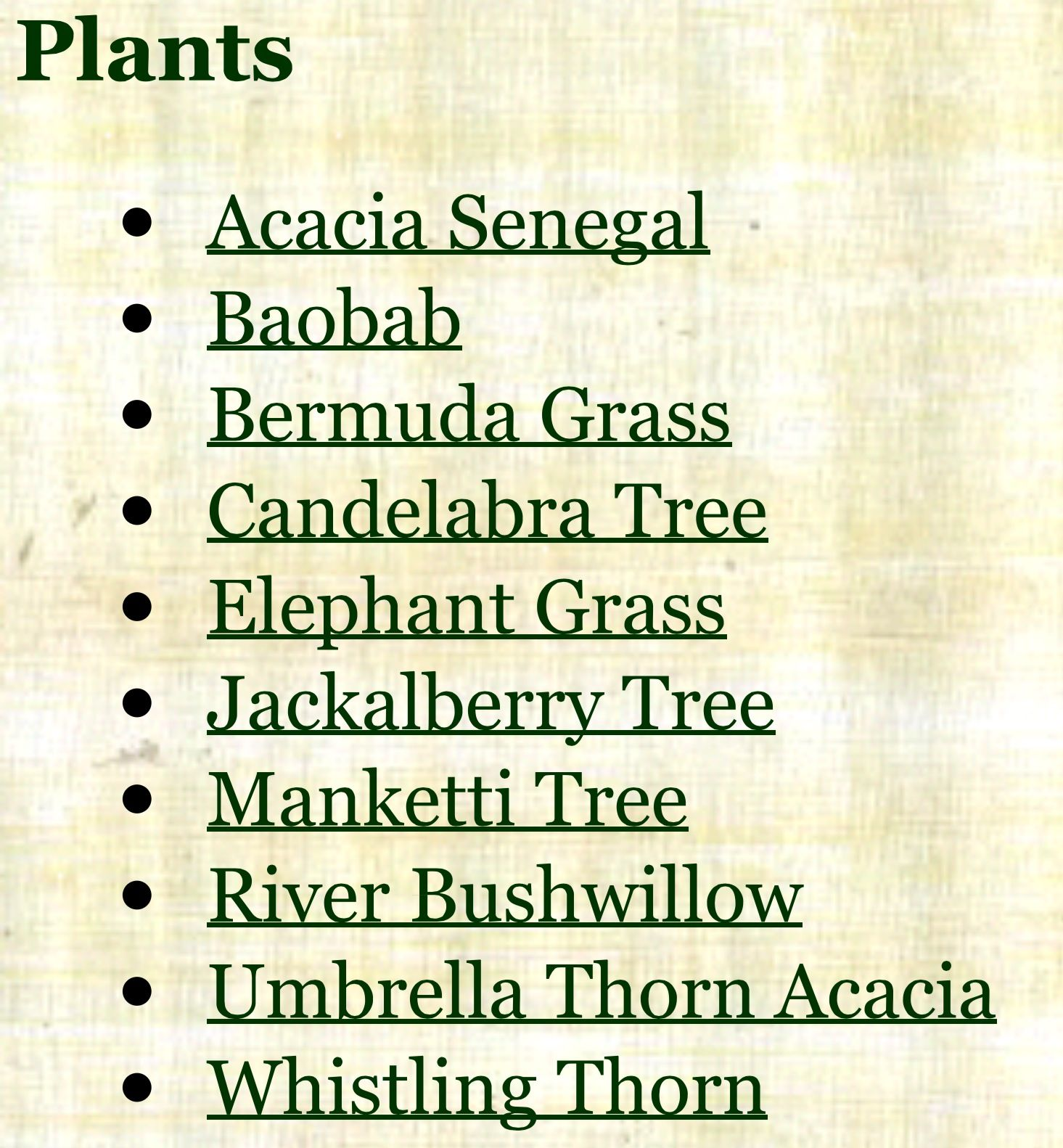 Dominant plants in the African Savanna Savanna biome