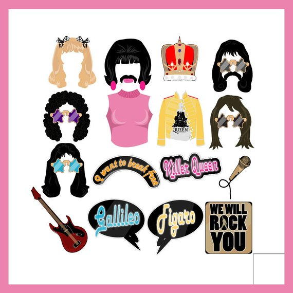 DIY Queen Rock Band Party Photo Booth Props