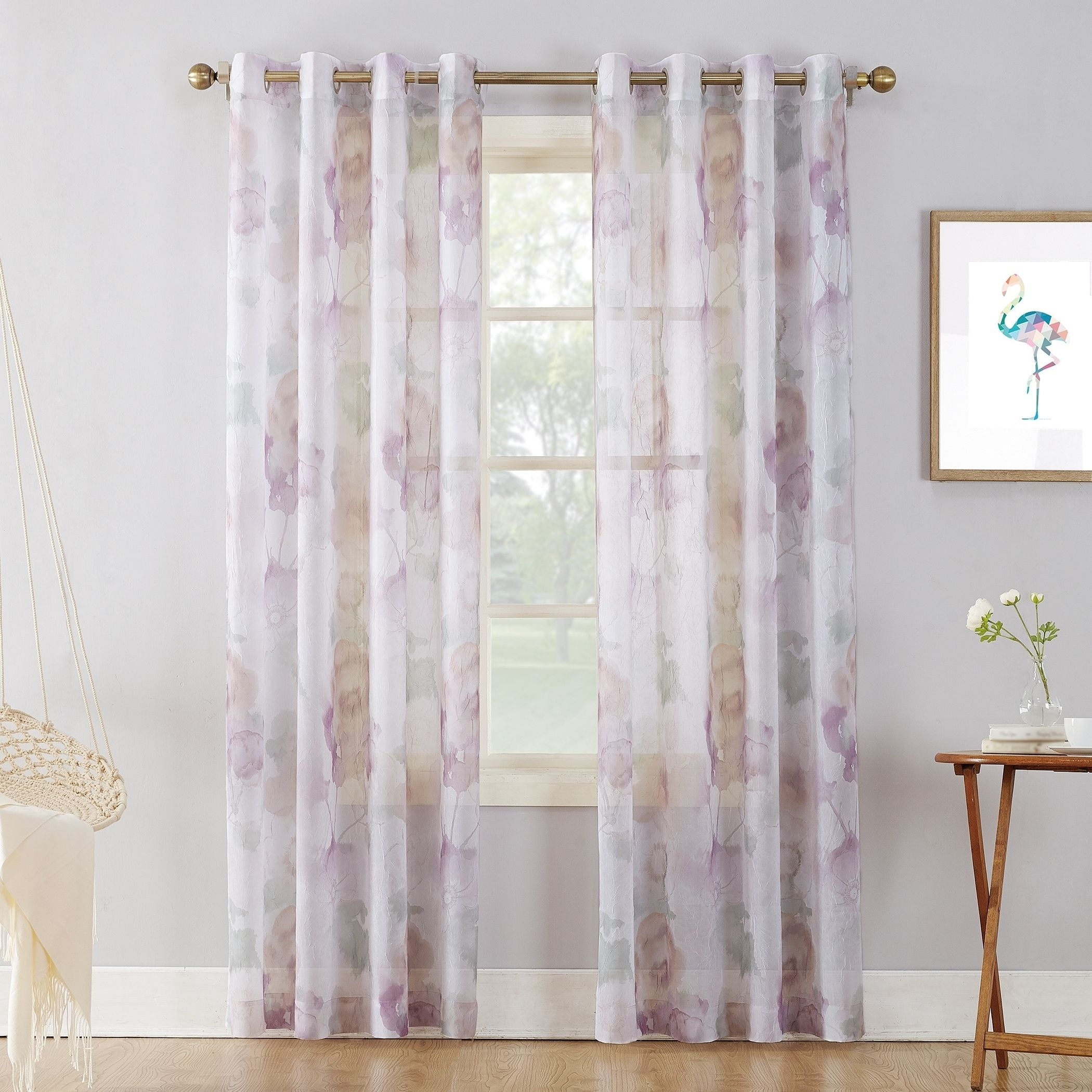 prodigious Textured Sheer Curtains Part - 13: 918 Andorra Watercolor Floral Print On Textured Sheer Curtain Panel (51 x 84