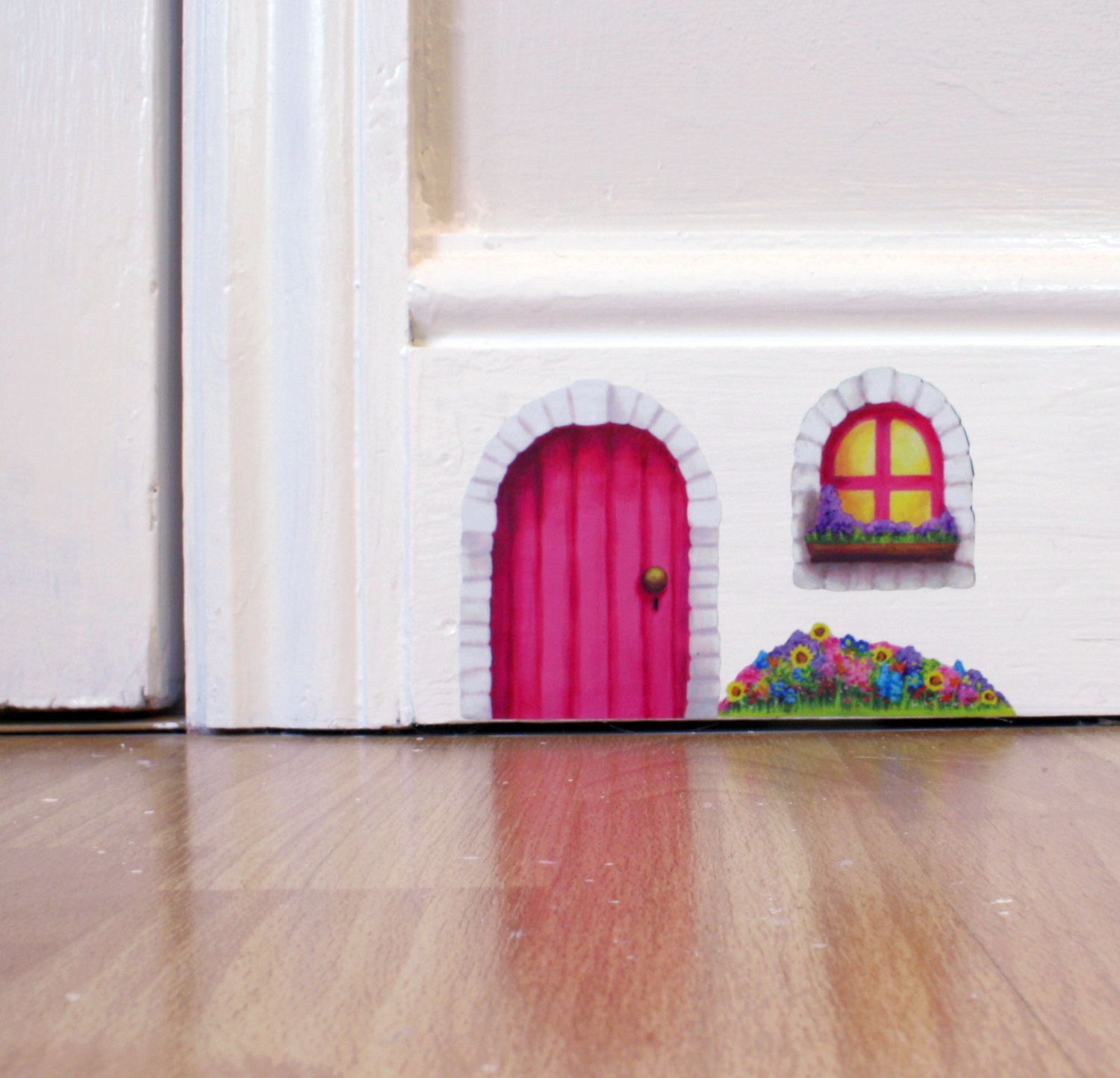 Pink Cottage Fairy Door wall sticker/decal including window and flower bed #flowerbeds