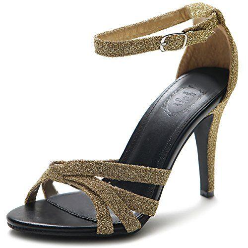 Ollio Women's Shoe High heel Glitter Ankle Strap Sandal (5.5 B(M) US, Gold) Ollio http://www.amazon.com/dp/B00LT4UIN0/ref=cm_sw_r_pi_dp_CmVPwb1X4VVRB