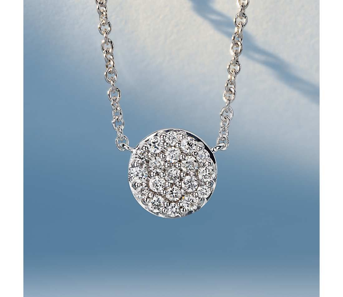 2ab15008e28fad Mini Micropavé Button Diamond Necklace in 14k White Gold (1/10 ct ...