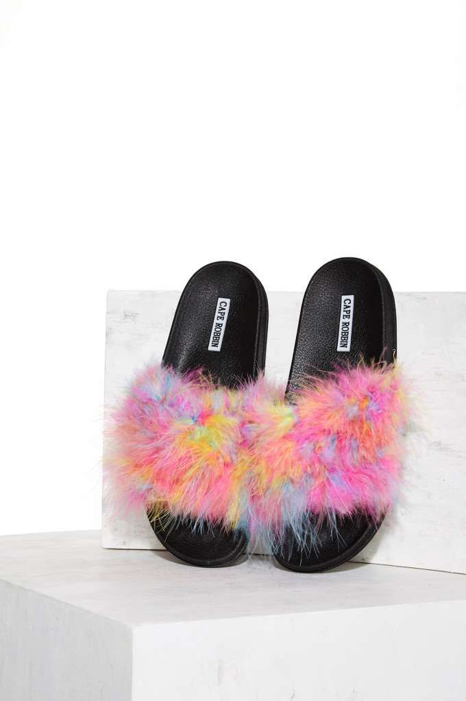 8774492ec80b8e Colorful Feather Slide Sandal