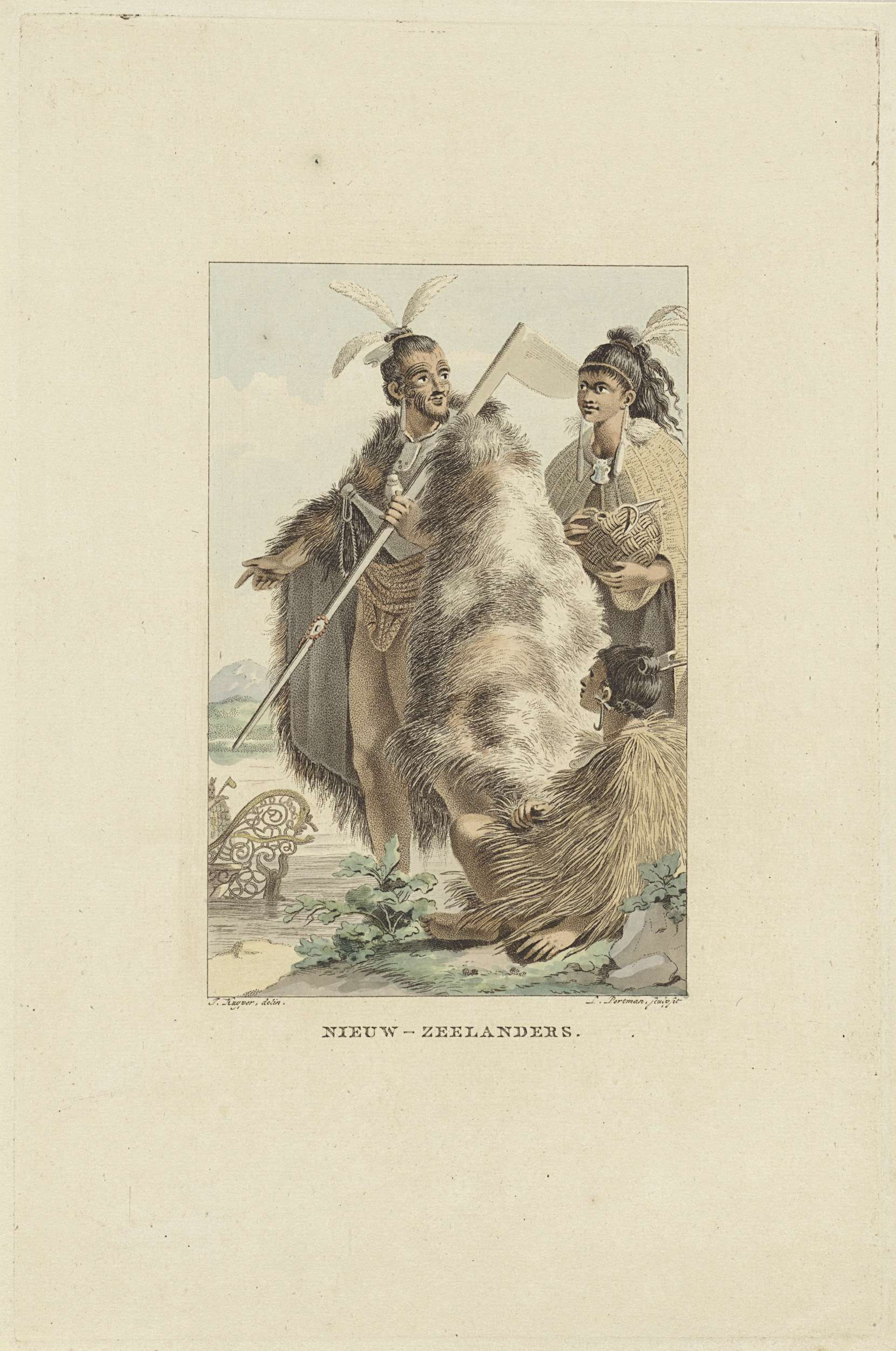 Ludwig Gottlieb Portman | Bewoners van Nieuw-Zeeland, Ludwig Gottlieb Portman, 1803 | Een man in krijgsgewaad beveelt de vrouw achter hem de mand die ze vasthoudt in de nabijgelegen boot te leggen. Een zittende vrouw kijkt toe.