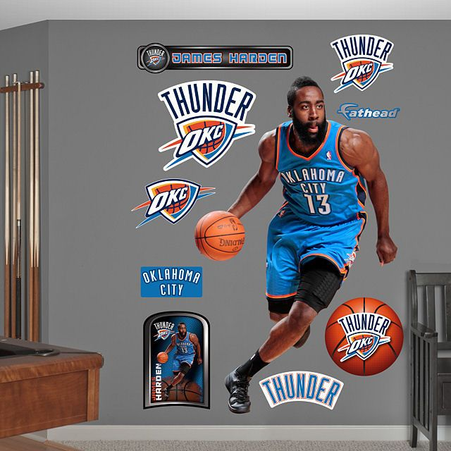 James Harden Quadruple Team: Fathead James Harden Oklahoma City Thunder