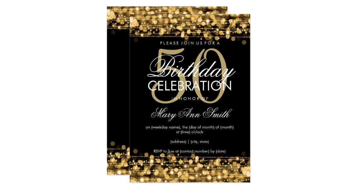 Elegant 50th Birthday Party Sparkles Gold Invitation Birthday