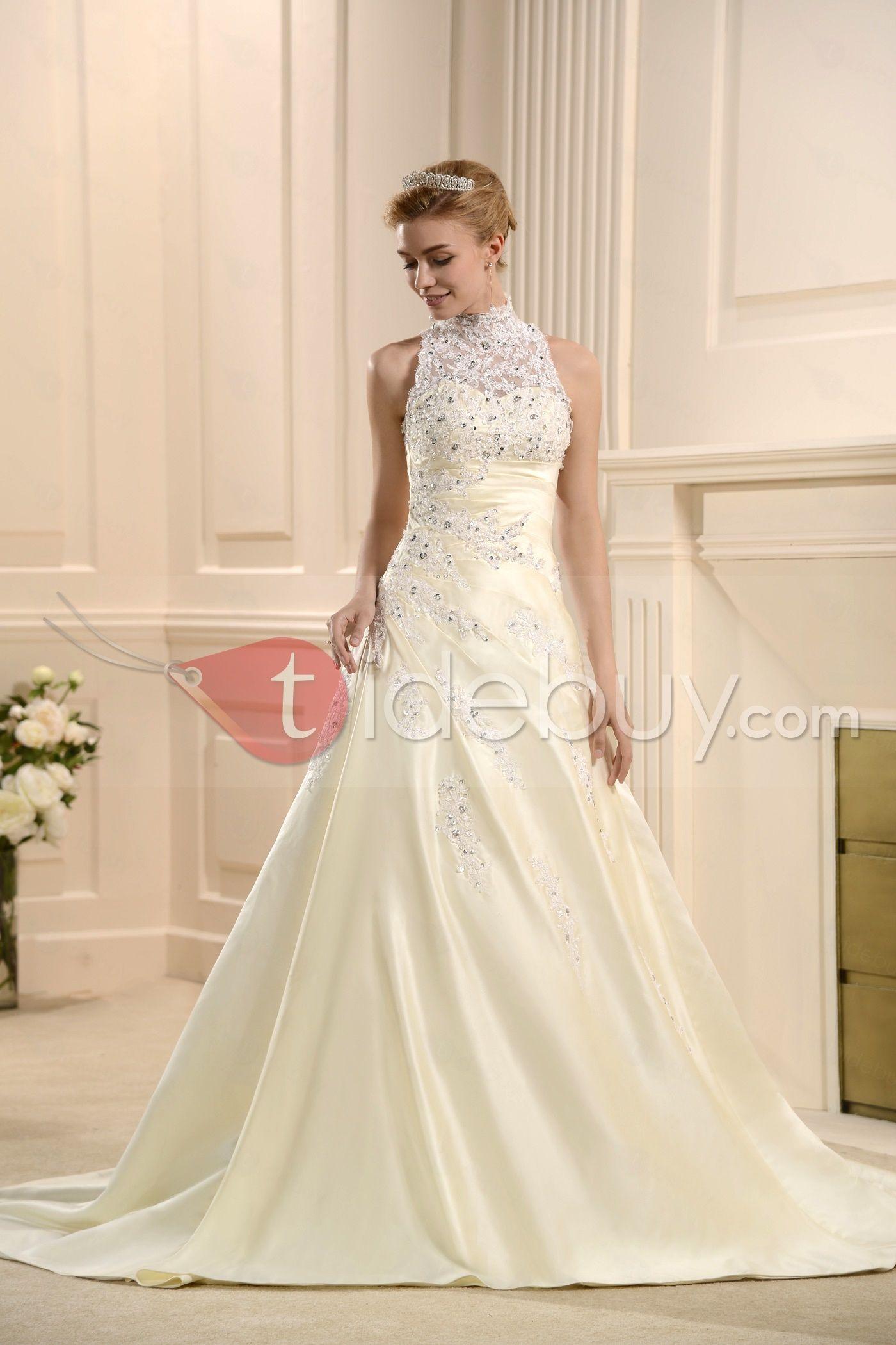 Modest wedding dresses under 200  Aラインハイネックチャペル床長さアップリケウェディングドレス