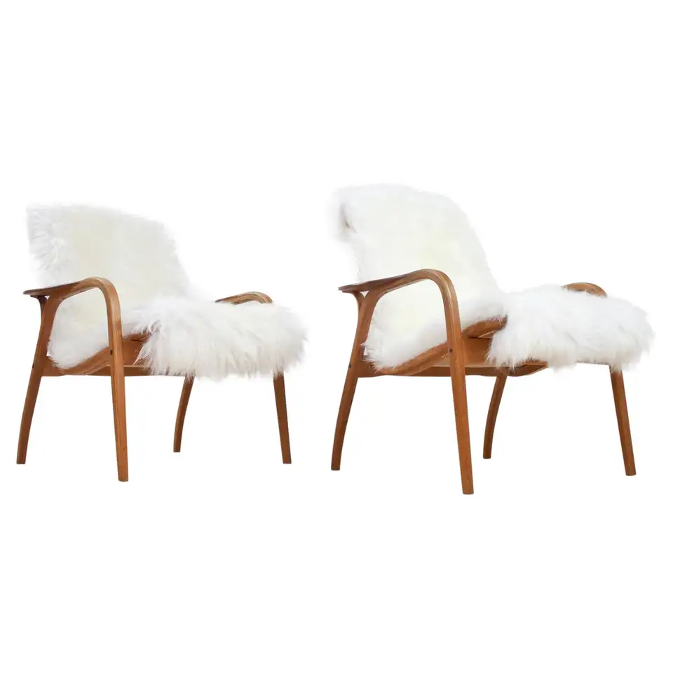 Scandinavian Modern Set Lounge Chairs By Yngve Ekstrom In Oak And Sheepskin 1951 In 2020 With Images Leather Armchair Modern Modern Lounge Chairs