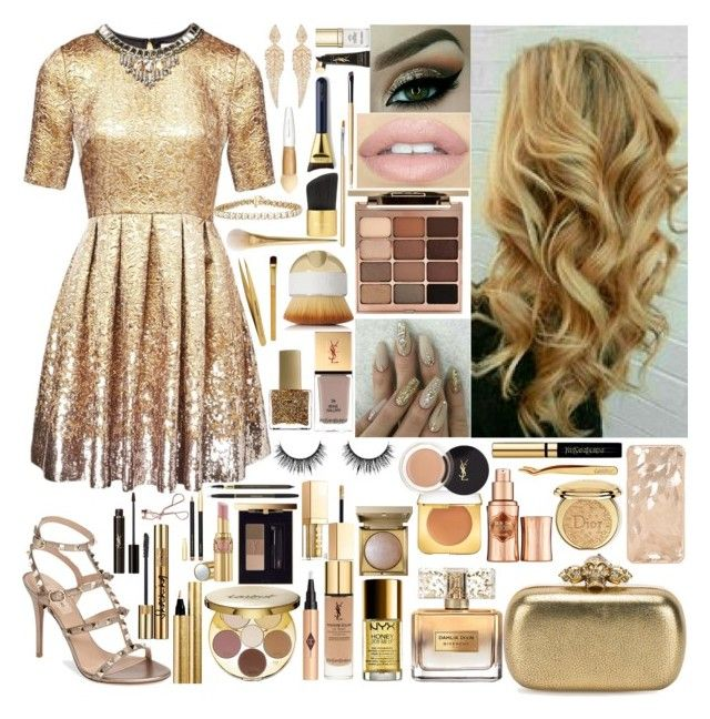 """""""Golden Girl"""" by girlygirlprincess ❤ liked on Polyvore featuring Matthew Williamson, Valentino, Alexander McQueen, Stephen Webster, Givenchy, NYX, Yves Saint Laurent, Charlotte Tilbury, tarte and Christian Dior"""