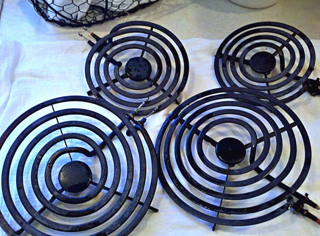 Cleaning stove burners and pans!