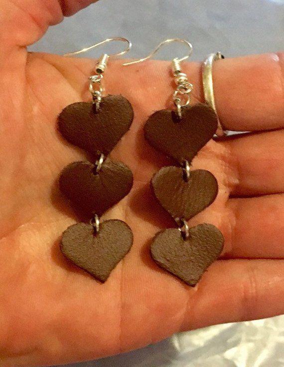 Photo of Brown leather heart earrings,dangle,genuine leather earrings,Hook earrings,boho earrings,womens leather jewelry,real leather earrings