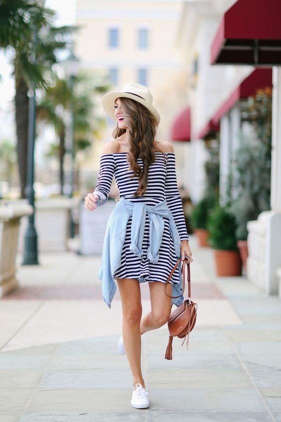 15 Hermosas Maneras De Usar Un Vestido A Rayas Es La Moda