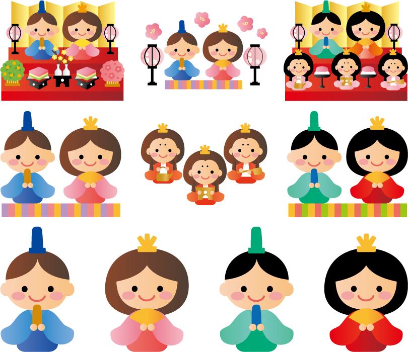 フリーイラスト 10種類のひな人形のセットでアハ体験 Gahag 著作