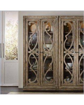 Hooker Furniture Solana Bunching 2-Door Curio Cabinet in Light Oak ...
