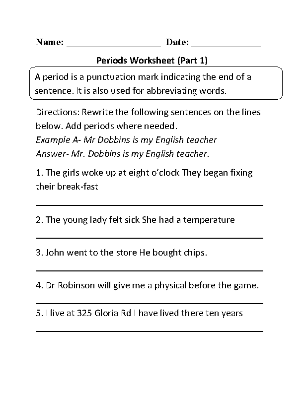 Englishlinx Punctuation Worksheets – Ending Punctuation Worksheets