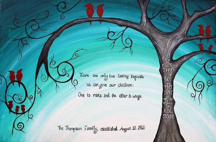 Family of Birds cardinals: Abstract Acrylic Tree Painting, turquoise ...