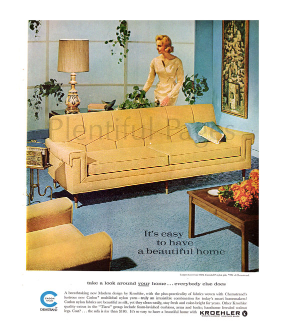 Modern Furniture Ads 1962 kroehler furniture vintage ad, 1960's living room, mid
