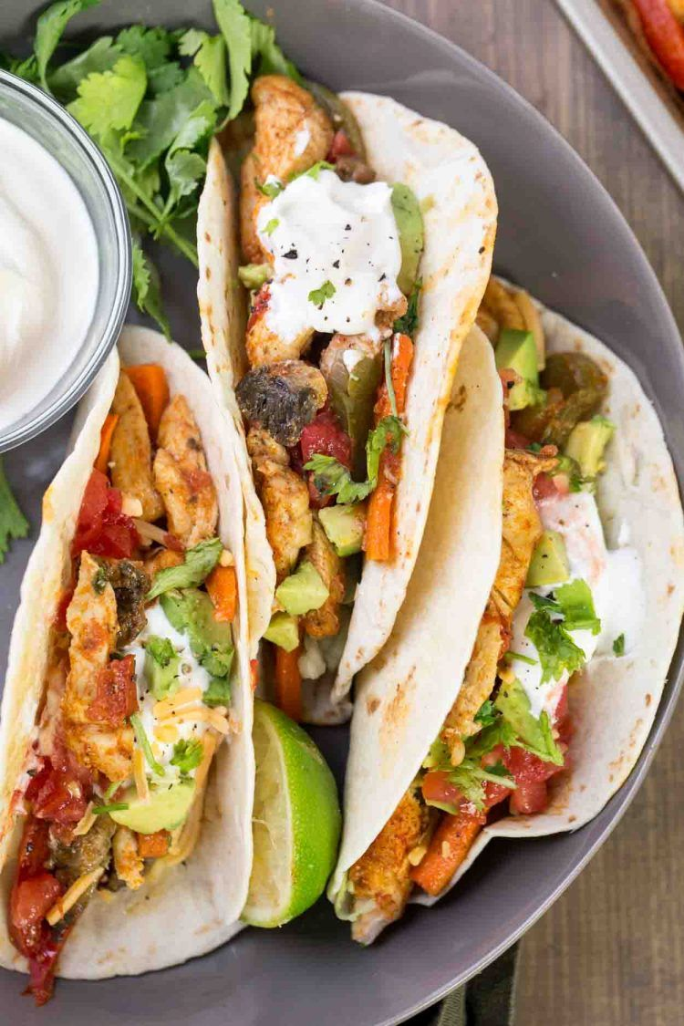 Chicken Fajitas Are Best Served As Burritos With Lettuce Sour Cream Tomatoes And Cheese Baked Chicken Fajitas Chicken Fajitas Chicken Fajita Recipe