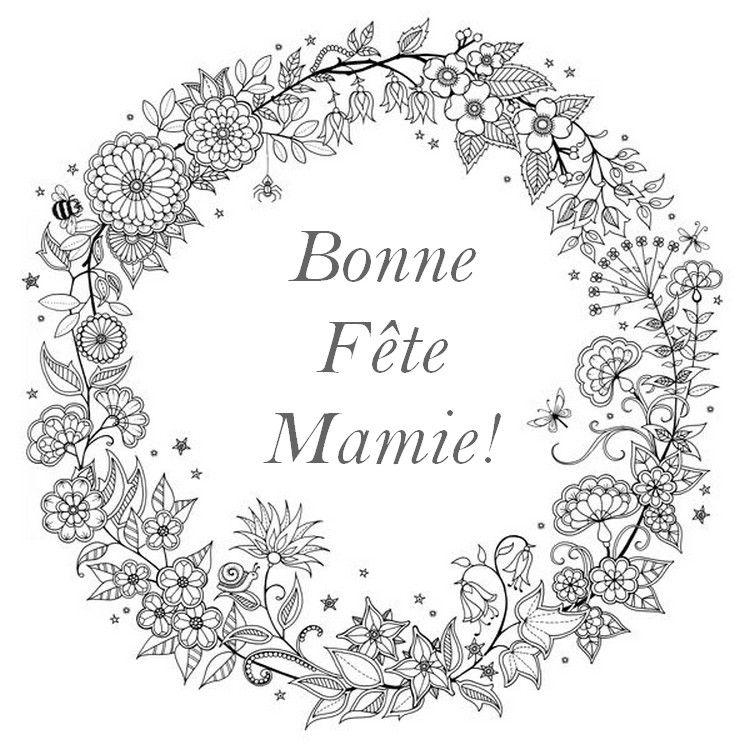 Flower Wreath For Grandma Dessin Fête Fleur Noir Et Blanc