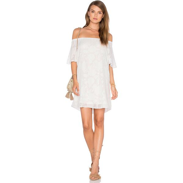 Three Eighty Two Nina Off Shoulder Mini Dress ($145) ❤ liked on Polyvore featuring dresses, white day dress, off shoulder mini dress, short white dresses, off the shoulder dress and white mini dress