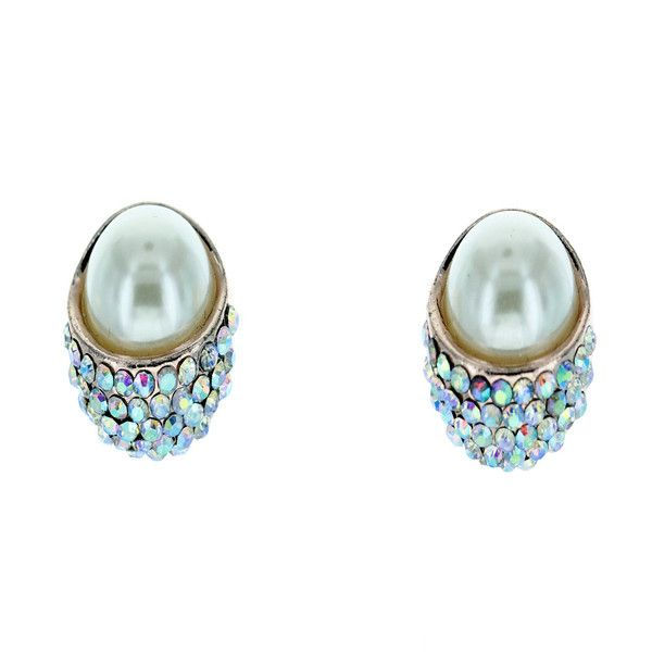 Angelic AB Crystal Pave Pearl Earrings  Truly Generous