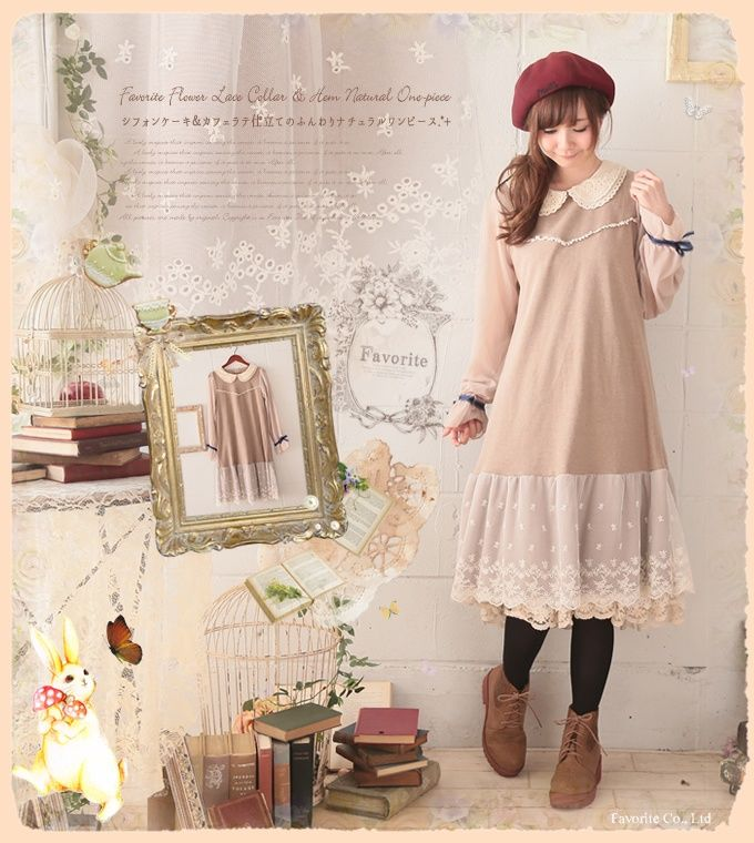 0aa35a72de91f Lolita Cute Mori Girl Japanese Style Cotton Linen Peter Pan Collar Lace  Ruffle Chiffon Long Sleeve