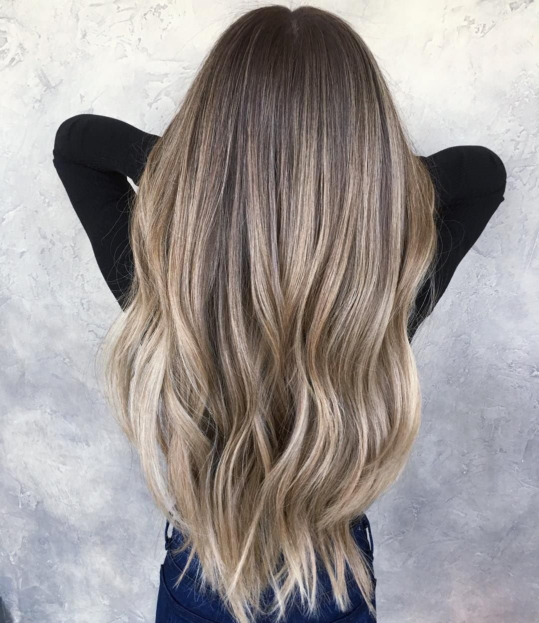Super Long Ashy Blonde Balayage Brunette To Blonde Highlights Lowlights Ash Blonde Perfect Hair Balayage Hair Ash Balayage Hair Balayage