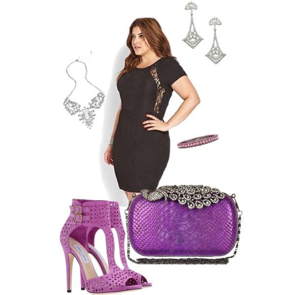 Purple Choos- plus size, created by gchamama on Polyvore