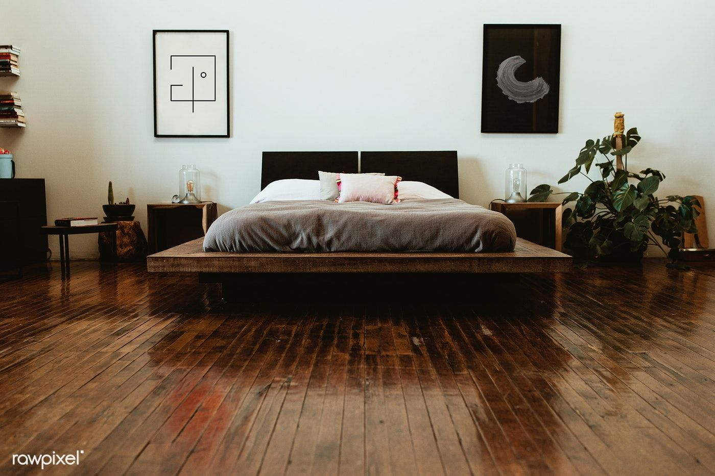 Download Premium Image Of Industrial Bedroom With Dark Wooden Floors In 2020 Dark Bedroom Furniture White And Brown Bedroom Dark Wooden Floor