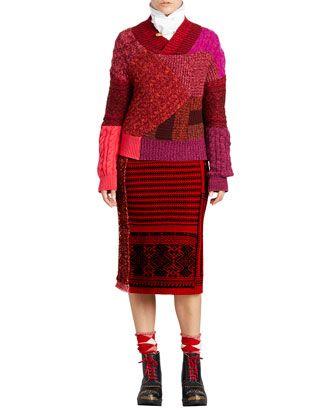 Tie-Neck Herringbone Cotton Shirt | Fair isle knitting, Knit skirt ...