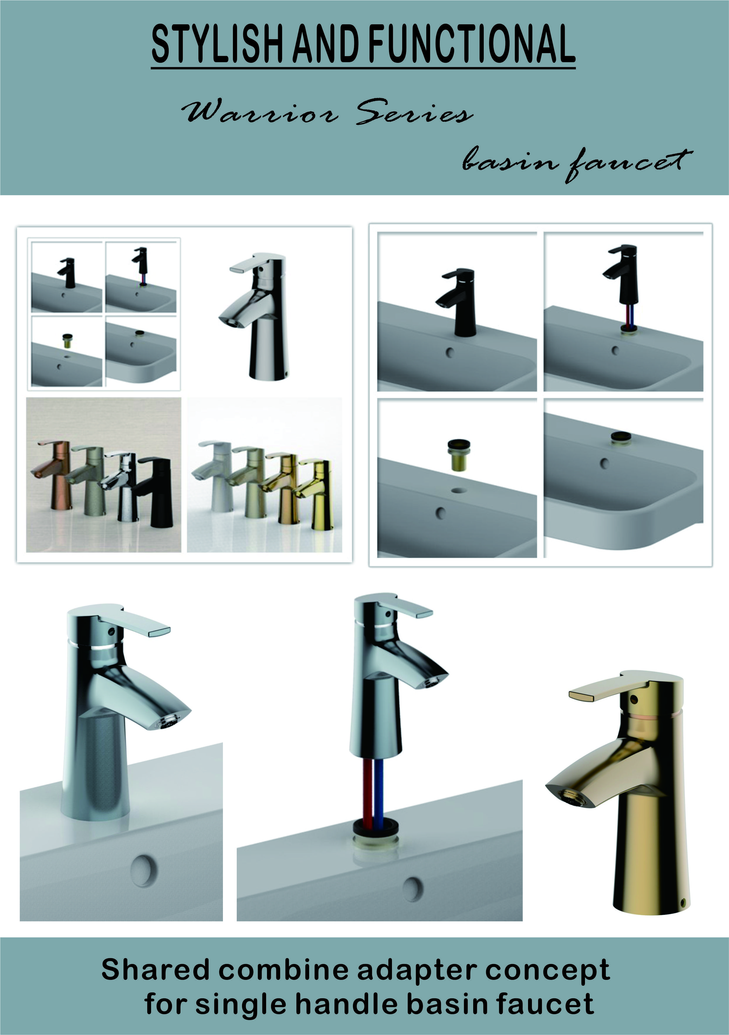 Shared Combine Adapter Concept For Single Handle Basin Faucet