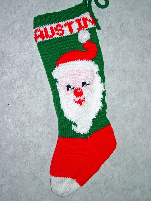 Christmas Stocking Knitted Patterns : Mr claus christmas stocking pattern by mary maxim