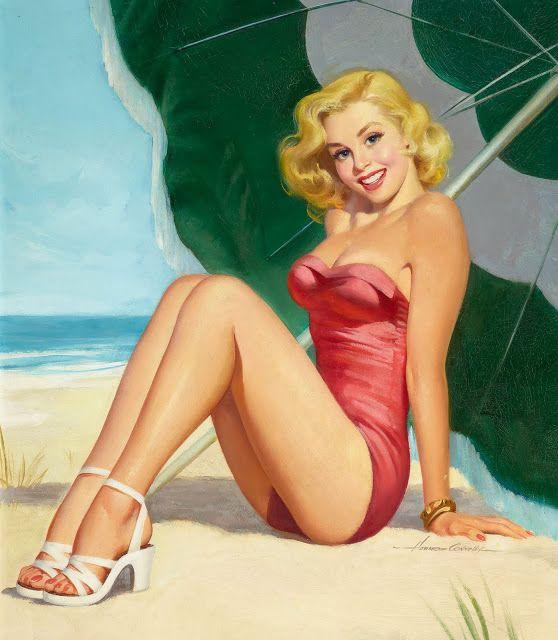 1da4a81ac1c Blonde Pinup Girl at the Beach