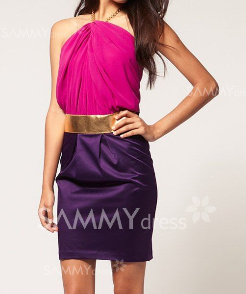 $9.11 Sexy Style Metal Chain Halterneck Backless Color Block Beam Waist  Dress For Women