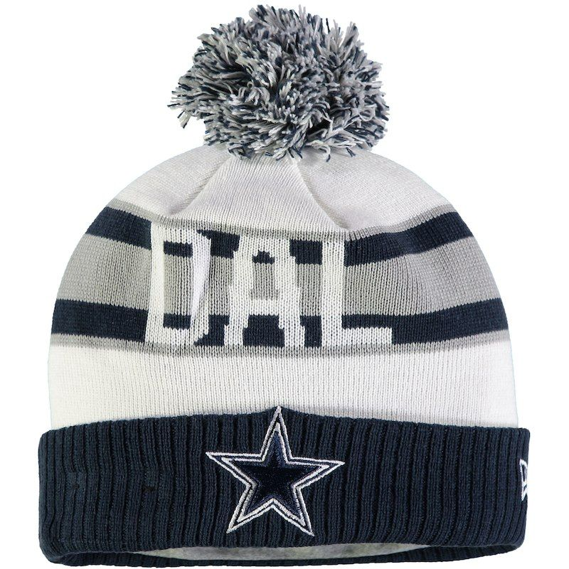 fb0792d5 Dallas Cowboys New Era Retro Cuffed Knit Hat with Pom – White/Navy ...