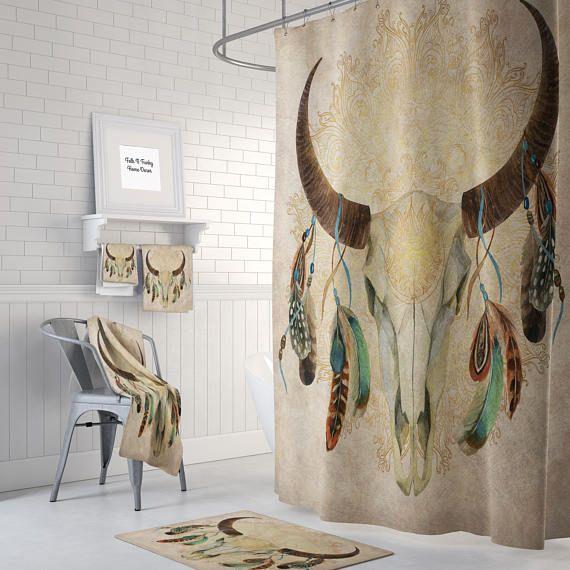 Boho Chic Bull Skull Shower Curtain Optional Bath Mat Bath Towels Bathroom Set Beige Watercolor Skull Shower Curtain Diy Bathroom Decor Boho Bathroom