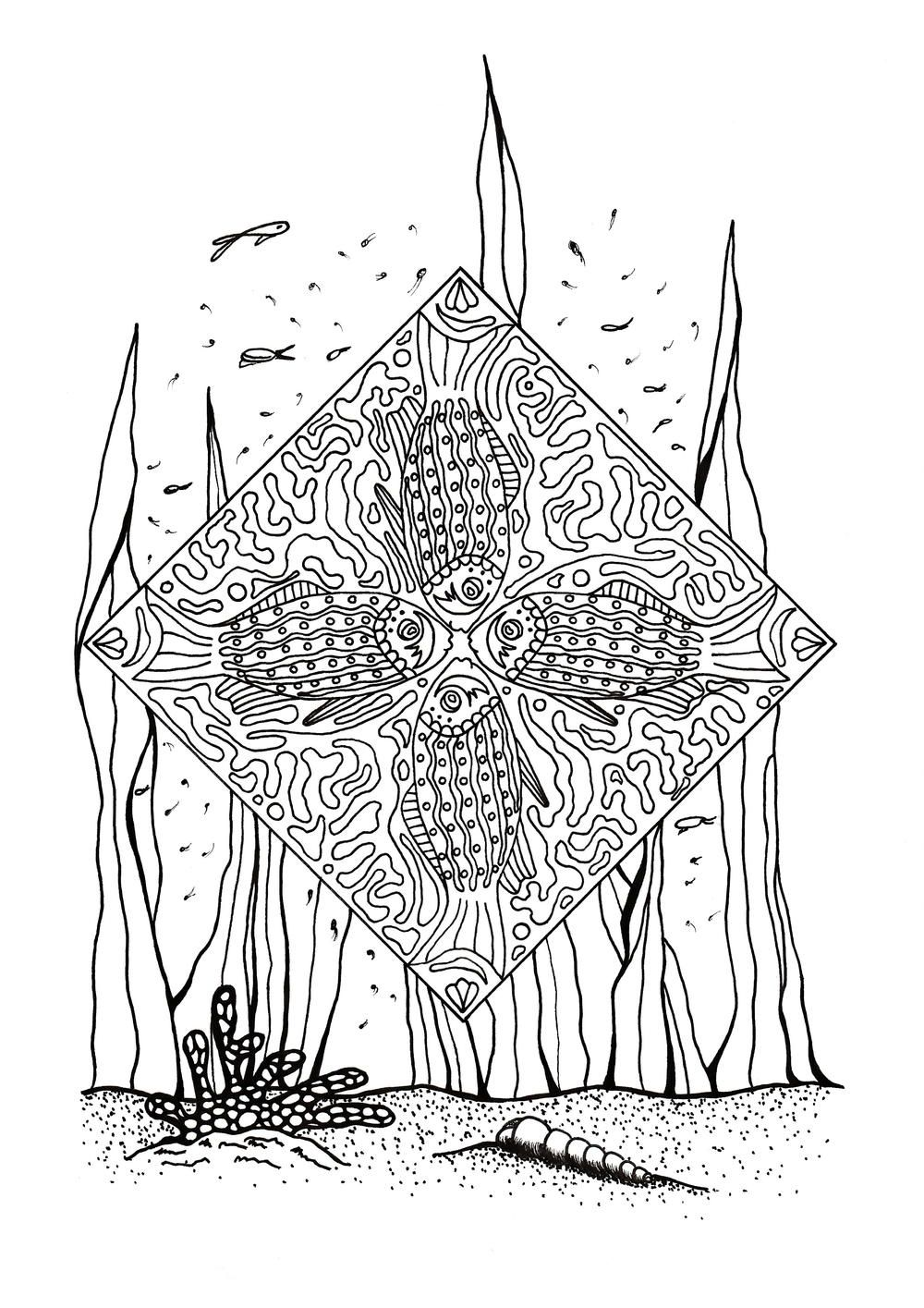 Coral Reef Slice of Life Adult Coloring Page | Free Adult Coloring ...