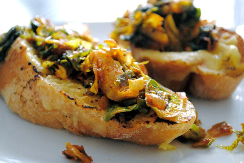 Brussels Sprouts and Smoky Onions Cheddar on Toast