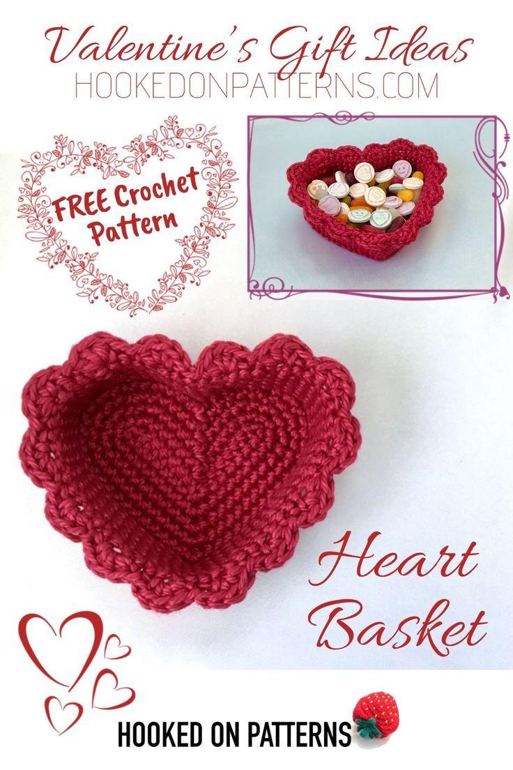 Free Crochet Heart Basket Pattern #giftideas