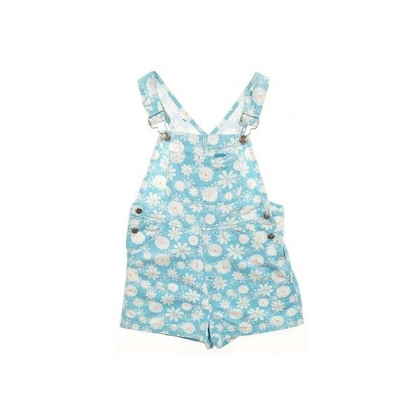 92a17f504ee Girl s Short Dungarees Blue Daisy Print AGE 11-12 YRS ❤ liked on Polyvore  featuring shorts