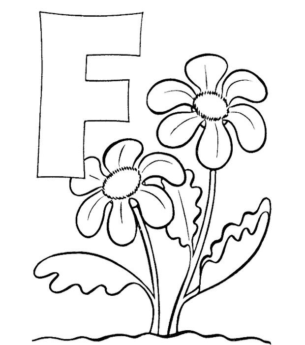 ABC Coloring Sheets Letter F Is For Flowers