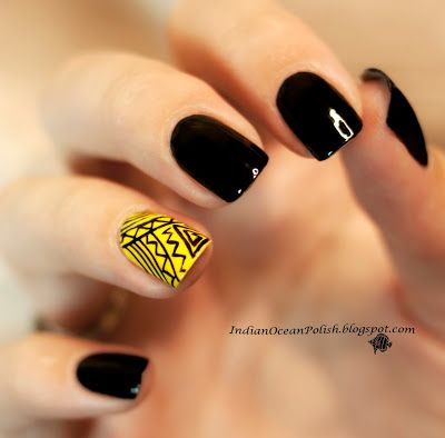Indian Ocean Polish Yellow And Black Aztec Design Nails